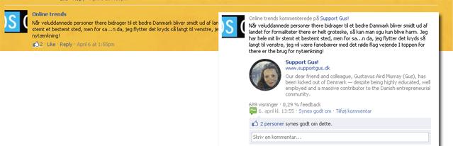 En kommentar delt mellem siden supportgus, og Trendsonlines newsfeed